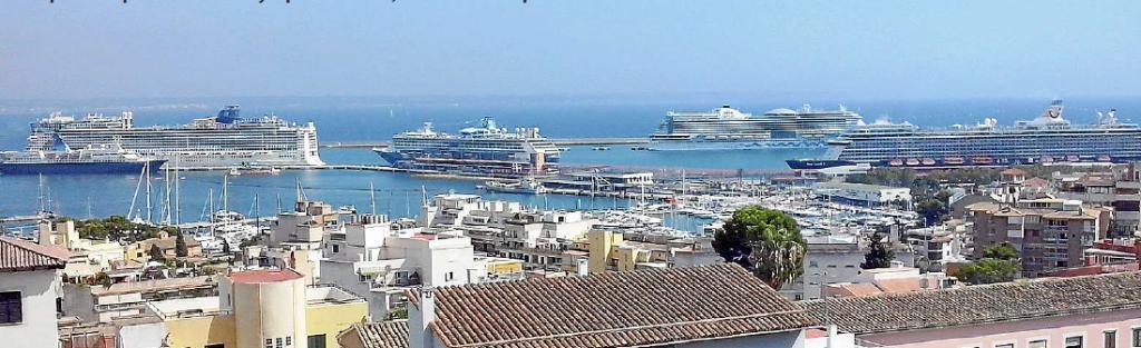 Vier Kreuzfahrtschiffe auf einen Schlag in Palma